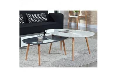 Stone Table Basse 88x48cm Laque Gris Brillant
