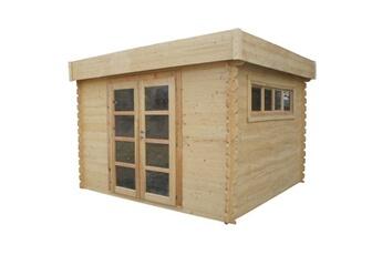 SOLEIL Abri bois toit plat pvc 3x3 m 8,94m² 28 mm