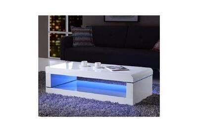 Blanc Basse Brillant Led Laqué Avec Luz Multicolore 120cm Table NP8k0XOwn