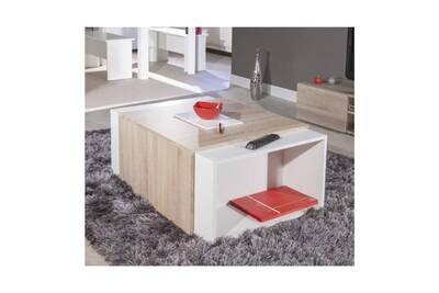 Charly Table Basse Modulable Col Chene Et Blanc