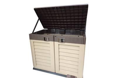 coffre armoire de rangement jardin habitat et jardin coffre de jardin en pvc oregon 900 l 1325 x 665 x 1045 cm moka - Coffre De Jardin