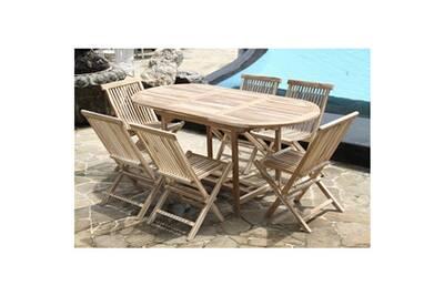 Salon de jardin en bois de teck brut 6 pers - table 120/170x80 + 6 chaises