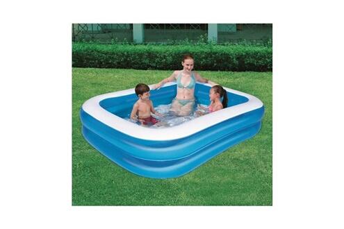 BESTWAY BESTWAY Piscine familiale bleue translucide rectangulaire - 201cm X 150cm h 51cm 2 boudins