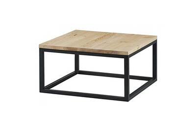 Table Basse Carrée Pin Massif Brut Et Métal 80 Cm City