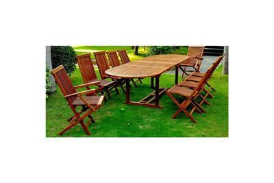 Lubok - Salon de jardin Teck huilé 12/14 pers - Table ovale + 8 chaises + 2  fauteuils