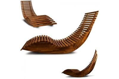 Transat Toprix Superbe Chaise longue à bascule en bois - Transat ...