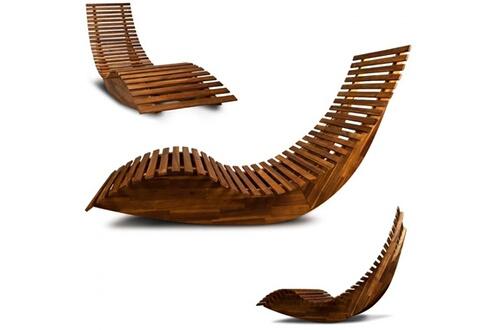 Toprix Superbe Chaise longue à bascule en bois - Transat ergonomique - Jardin/plage/terrasse - Bain de soleil - Relax Neuf