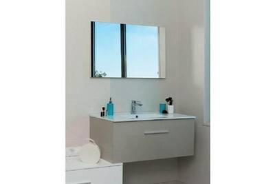 Aqua+ - Ensemble meuble salle de bain haut taupe à suspendre 90 cm livré  monté - TERRY