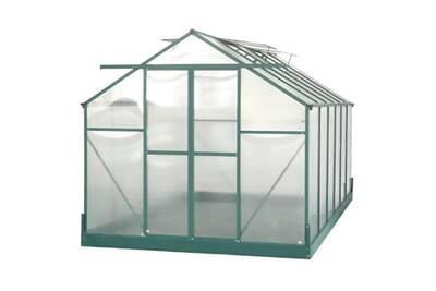 Habrita - Serre jardin structure Alu couleur verte polycarbonate 6 mm  surface 10,66 m2 - SR4224