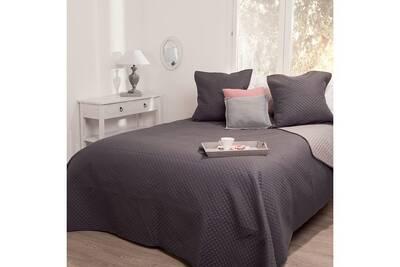 couvre lit boutis atmosphera dessus de lit 240 x 260 cm arabesque bicolore gris fonc 2 taies - Dessus De Lit Boutis