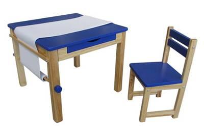 Ensemble table et 1 chaise pour enfant en bois coloris bleu