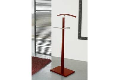 Valet de Nuit simple Rouge en Bois/Metal sur socle rectangulaire, 48 x 28 x  116 cm -PEGANE-