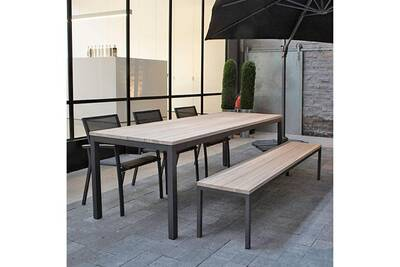 Table en teck et alu anthracite 220 cm scilly