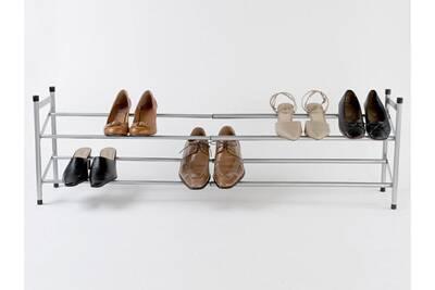 c15b0587255 Meuble à chaussures Compactor Home Etagère range chaussures téléscopique en  acier laqué gris Stilito