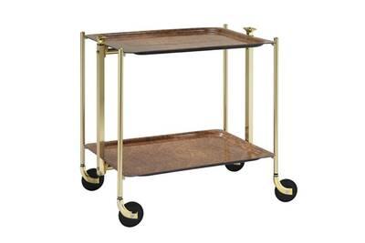 Table Roulante Pliable 2 Plateaux Loupe Dorée