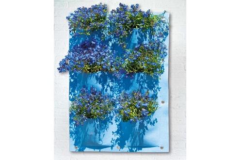 Ubbink Mur végétal en feutrine 6 poches plastifiées 50 x 72 cm - Bleu