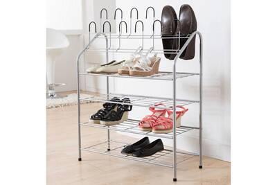d18a77c294b Meuble à chaussures Compactor Home Etagère à chaussures en métal laqué + 12  supports verticaux 69.5x27.5x88cm Harry