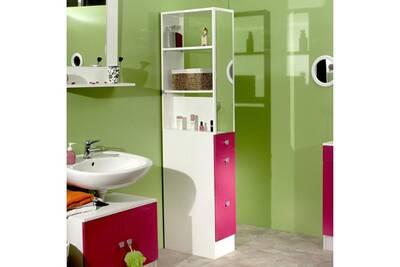 Colonne salle de bain 3 tiroirs 1 miroir l24.5xp54xh181.50cm banio - blanc  / fushia