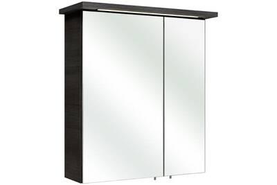 Armoire de toilette portes miroir avec éclairage led williams - graphite -  2 portes