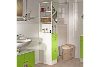 Colonne salle de bain 3 tiroirs 1 miroir l24.5xp54xh181.50cm banio - blanc  / vert
