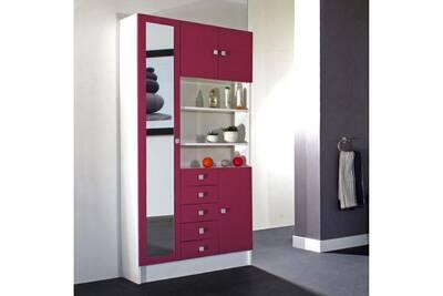 Armoire avec miroir 4 portes/5 tiroirs/3 niches l90xp29.6xh181.6cm banio -  blanc / fushia