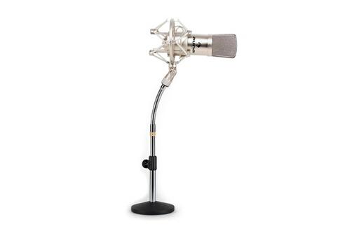 Set micro studio avec micro XLR argent et pied de table