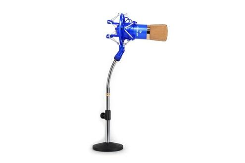 Set micro studio avec micro XLR bleu/or et pied de table