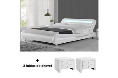 Lit Led Design Julio 160cm Avec 2 Tables De Chevet Eva Blanc Lit Led Avec Télécommande Et Un Sommier à Lattes