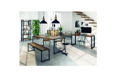 Bureau inwood petite table bois et métal 140 x 60 cm omega darty