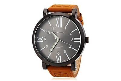 gamme de couleurs exceptionnelle prix réduit Design moderne Alpexe® Montre Bracelet Quartz bracelet Cuir Marron cadran noir et blanc