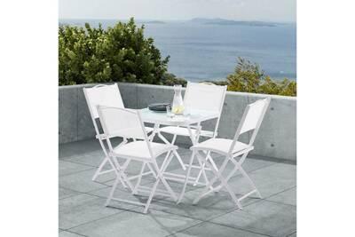 Ensemble terasse blanc avec table + 4 chaises