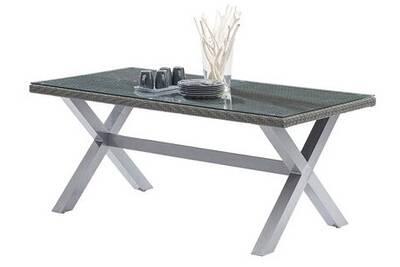 Table de jardin LEKINGSTORE Table de Jardin Wicker Tressé Gris 6/8 ...