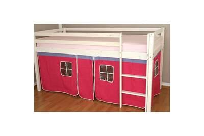 Lit Mezzanine 90x200cm Avec Echelle En Bois Laque Blanc Et Toile Rose Incluse Lit06012