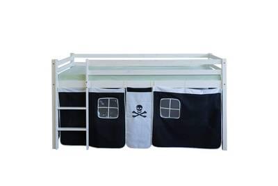 Lit Mezzanine 90x200cm Avec Echelle En Bois Blanc Et Toile Noir Pirate Lit06121