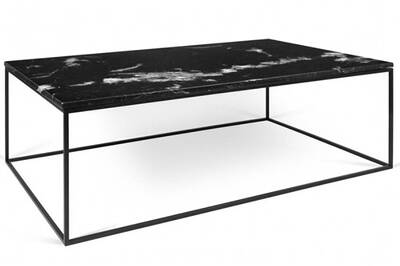 Table Basse Rectangulaire Gleam 120 Plateau En Marbre Noir Structure Noire