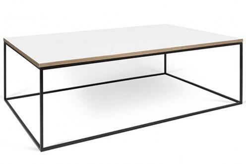 table basse inside 75 table basse rectangulaire gleam 120 plateau blanc mat structure laque noir mat - Inside75 Table Basse