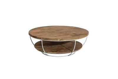 Qualité supérieure 616a5 7f472 Table basse coque blanche double plateau 100x100 cm appoline - teck foncé
