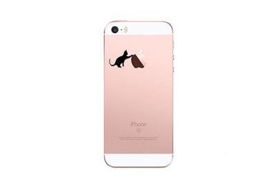 Coque Silicone IPHONE 5/5S/SE Chat Fun APPLE Cat Noir Joue Pomme Transparente Protection Gel Souple