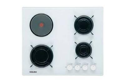 Glem Table Cuisson Mixte Gaz Electrique Verre Gv647wh Gv 647 Wh Blanc