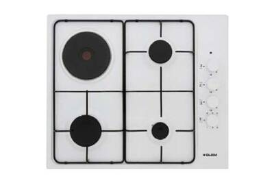 Glem Table Cuisson Mixte Gaz Electrique Gtl647wh Gtl 647 Wh Blanc