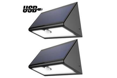 Lampe Solaire Sans Fil 46 Led 600 Lumens Eclairage Exterieur Impermeable Avec 4 Modes Intelligentes Pour Jardin Patio Terrasse Cour Allee