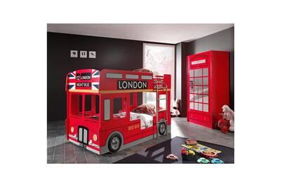 Pack - lit superposé enfant bus & armoire 2 portes cabine