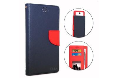 Huawei p10 lite etui housse folio bleu marine et rouge façon cuir texturé avec porte cartes et surpiqûres apparentes by ph26®