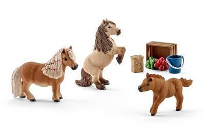 Figurines Animaux Schleich Pack Kit Famille De Mini Shetlands Figurines Des Chevaux Schleich 41432 Darty