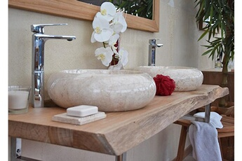 Meuble Salle De Bain Plan Pour Vasque En Teck Massif 120 Cm Forme Libre