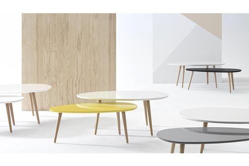 Table basse Bobochic Tables basses gigognes scandinaves - lot de 2 - mdf laqué blanc / noir