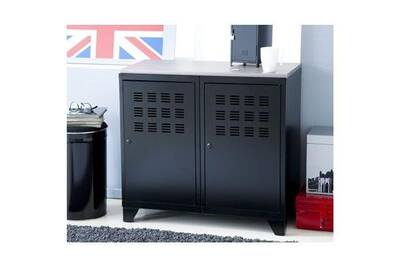 armoire metal 2 portes noir