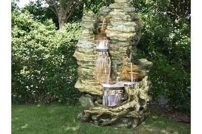 Fontaine cascade en polyrésine aquaarte miami led h157cm