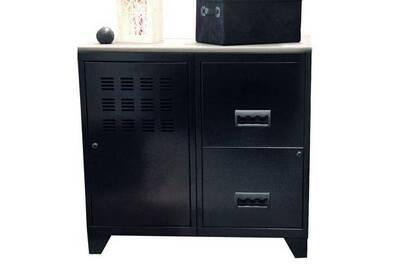 Caisson de bureau mobmetal meuble sur pieds grands tiroirs noir