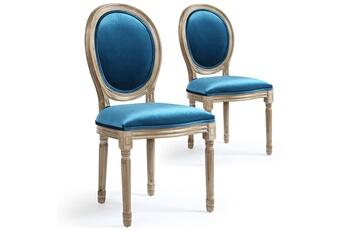Lot de 2 chaises Design velours Bleu DIWALI